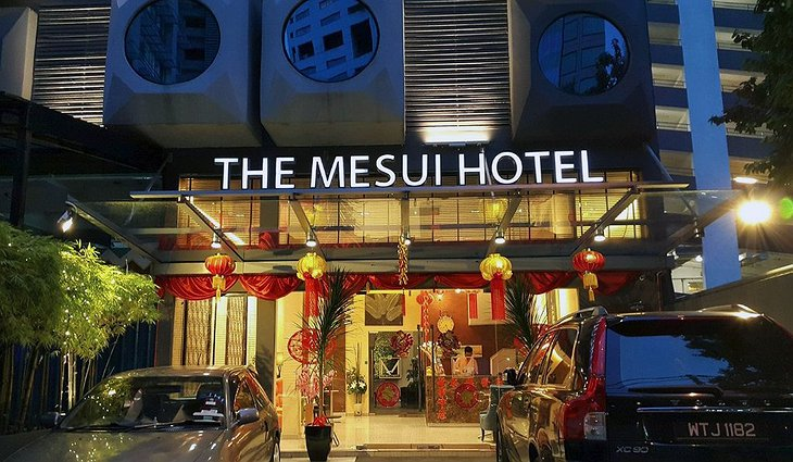 The Mesui Hotel Entrance at Night