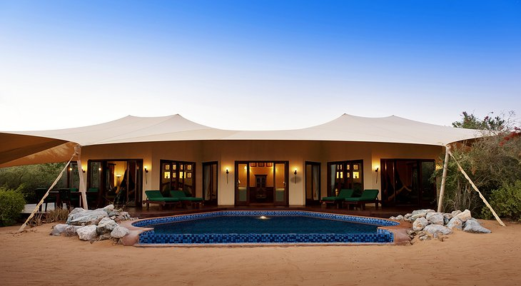Al Maha Desert Resort tent with pool