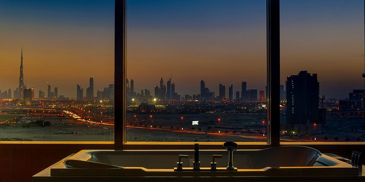 Dubai panorama from the bathtub