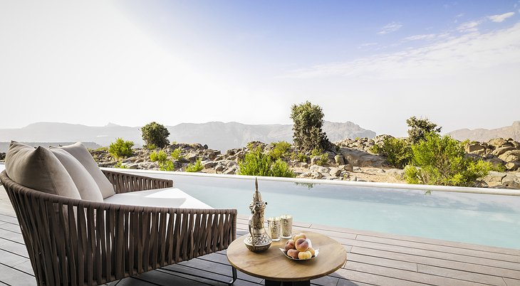 Anantara Al Jabal Al Akhdar Resort private pool on the terrace with canyon panorama