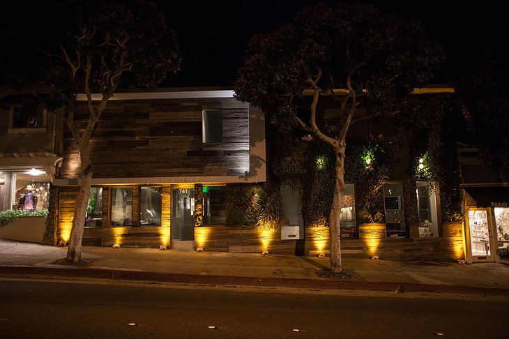 Seven4One Hotel exterior at night