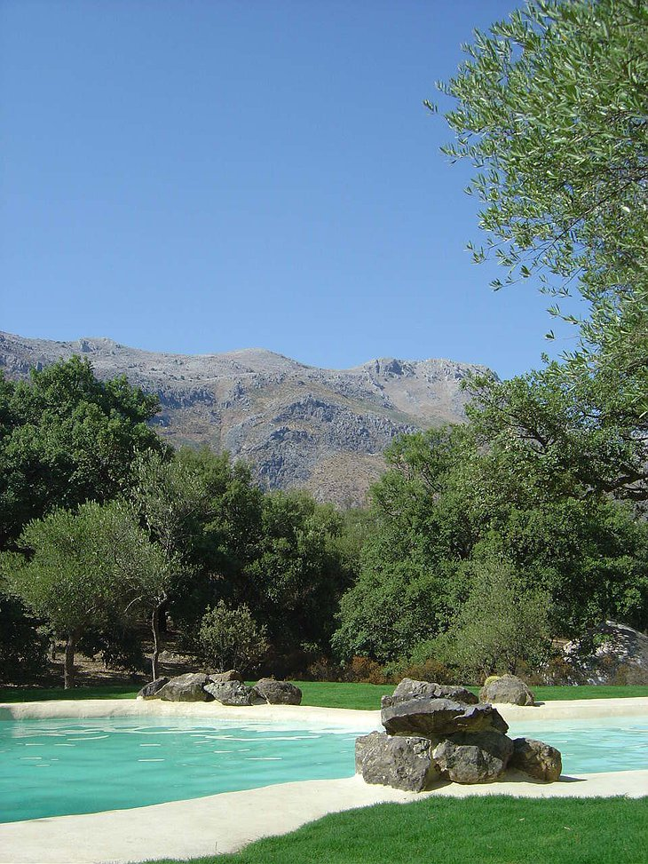 View from the swimming pool at The Hoopoe Yurt Hotel