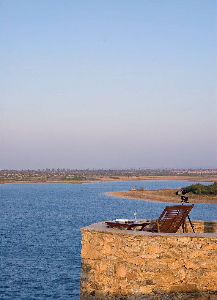 Chhatra Sagar terrace chair with lake panorama