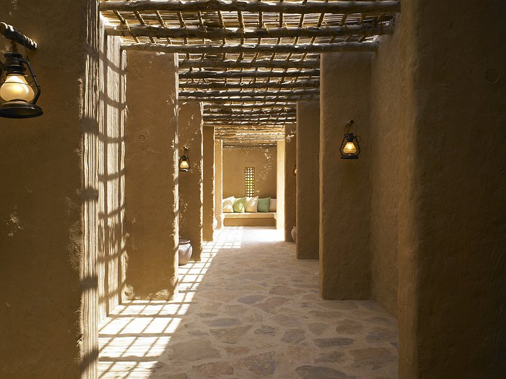Cool shades of the walls of Six Senses Zighy Bay hotel