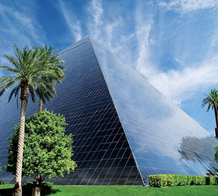 Luxor pyramid shape hotel in daytime