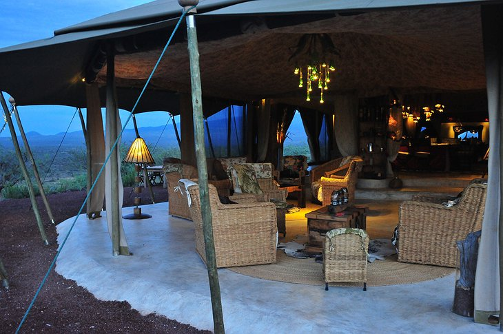 Shu'mata Camp veranda at night