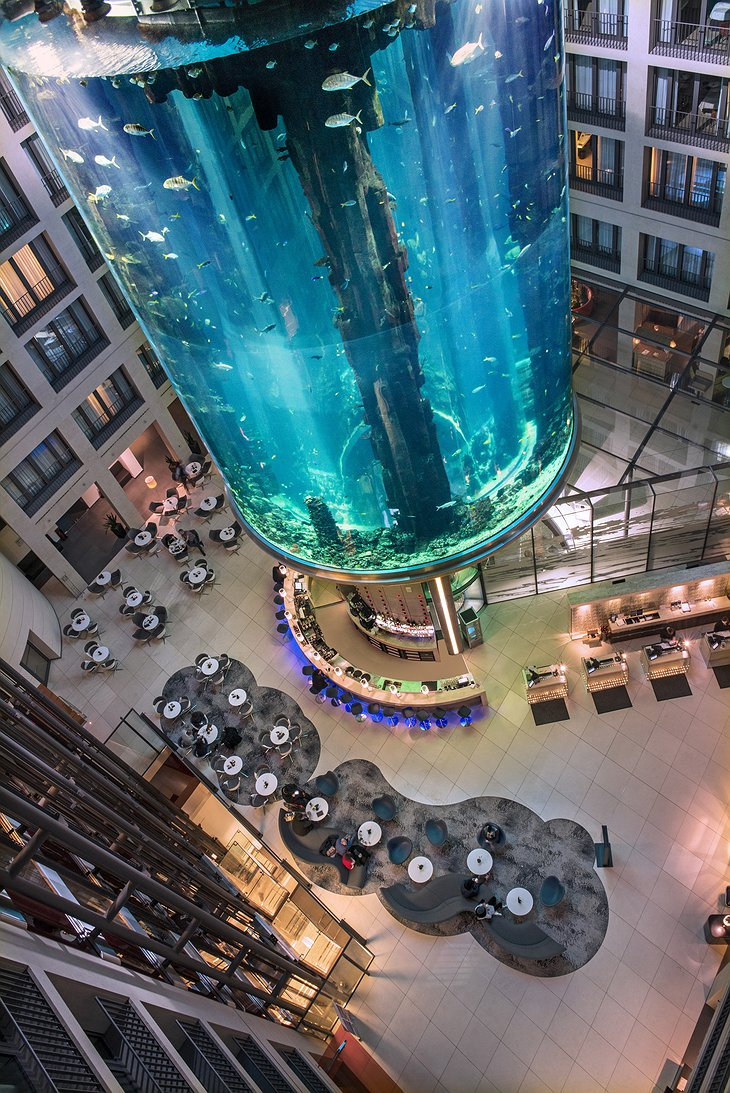 25 meter high AquaDom, the world's largest freestanding, cylindrical aquarium