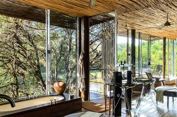 Singita Sweni Lodge bathroom at the large windows