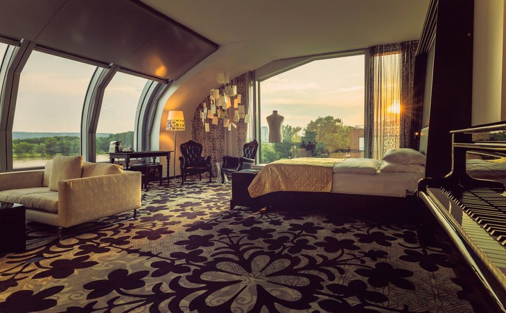 Kameha Grand Bonn room with panoramic Rhine River views