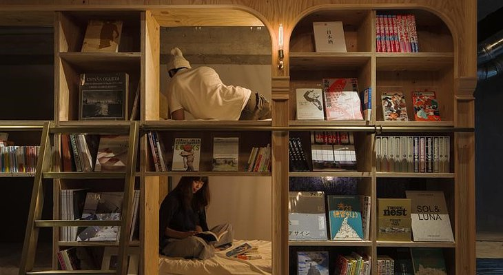 Book and Bed Tokyo bookshelves and beds