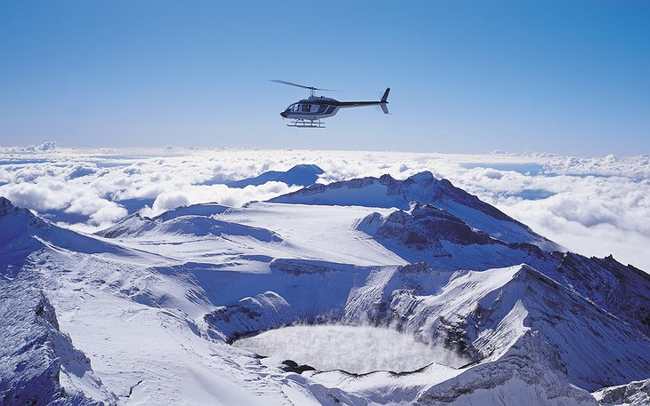 Helicopter ride above the Volcanic cones in New Zealand