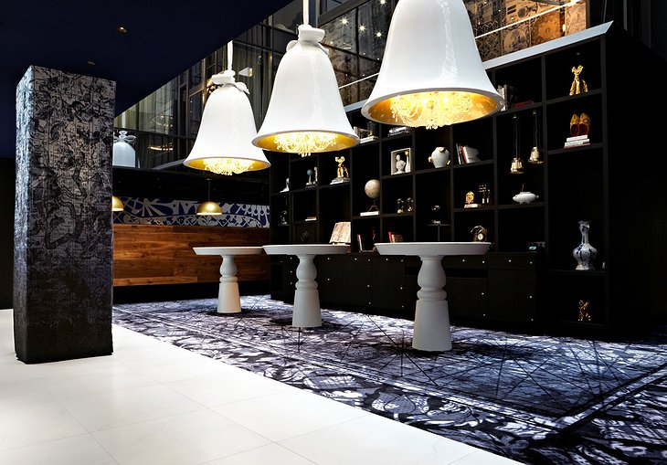 Andaz Amsterdam hotel lobby design lamps