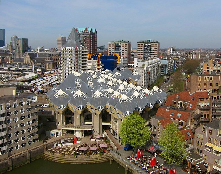 The Cube House in Rotterdam aerial