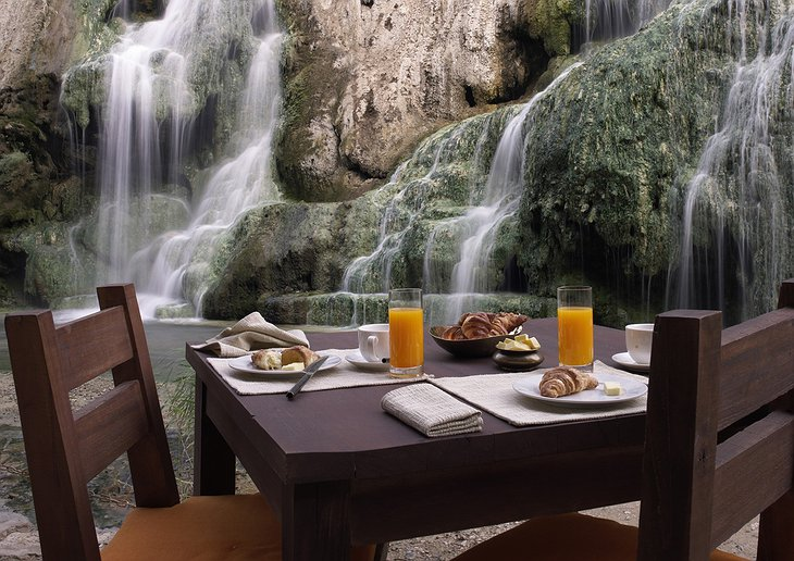 Breakfast by the waterfall