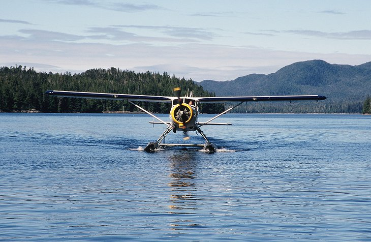 Arriving to Princess Royal Island by private airplane