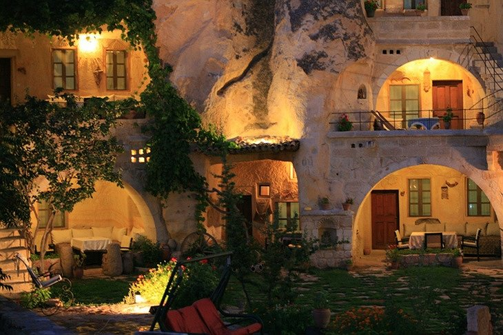 cave hotel at night