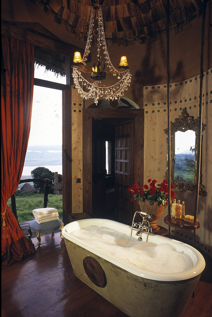 African luxury bathroom at Ngorongoro Crater Lodge