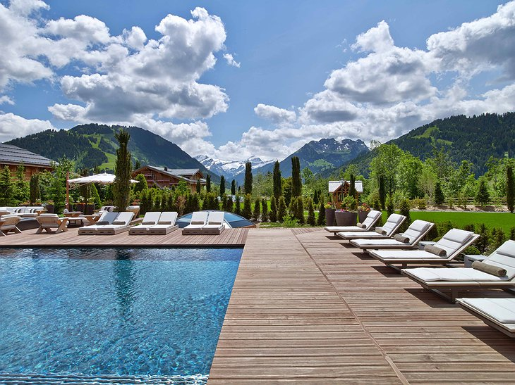 Alpina Gstaad Outdoor Pool with Alps Views