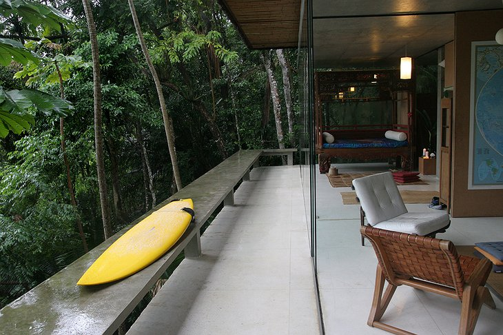 Surf board in the jungle house