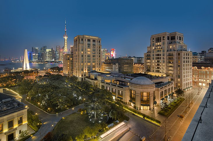 The Peninsula Shanghai hotel exterior at night