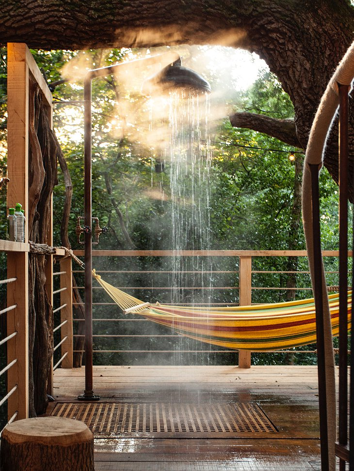 The Woodman's Treehouse Outdoor Shower