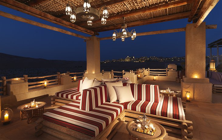 Qasr Al Sarab Desert Resort terrace majlis at night