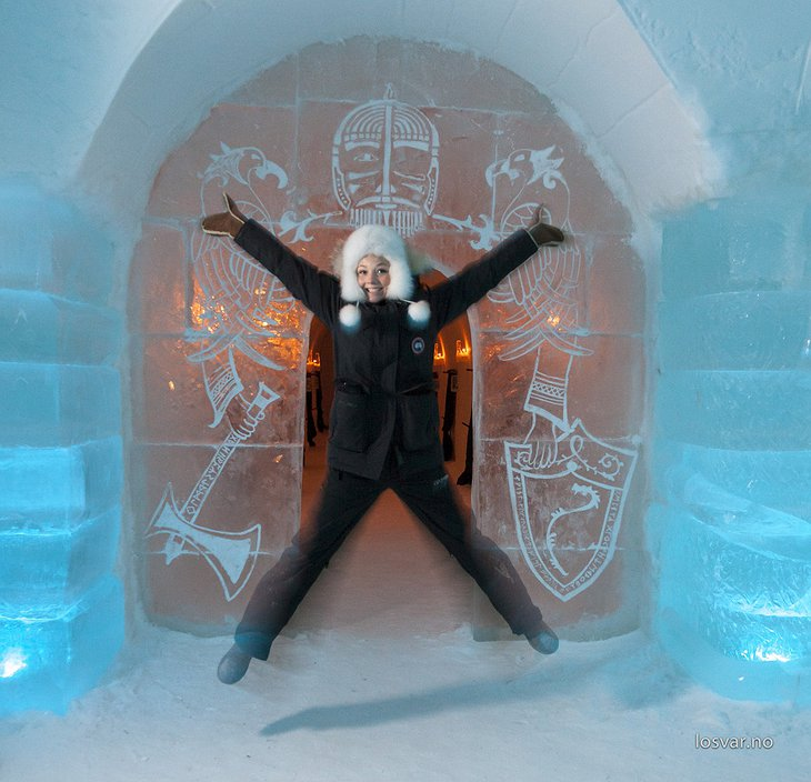 Sorrisniva Igloo Hotel ice gate entrance with a girl