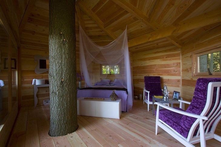 Cabanes Als Arbres tree house purple room