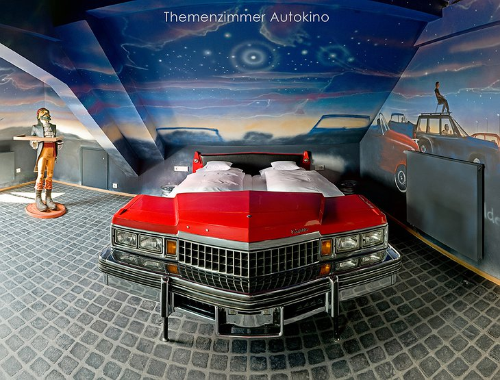 Room with Cadillac bed