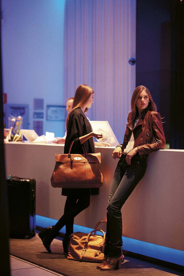 Two model girls waiting in lobby of the Nordic Light Hotel