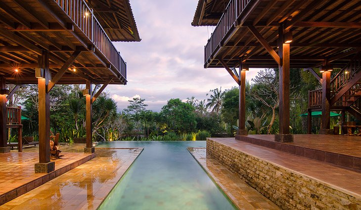 Villa Atas Awan Pool Jungle View in the Evening