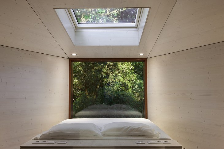 Pedras Salgadas tree house bedroom with forest views