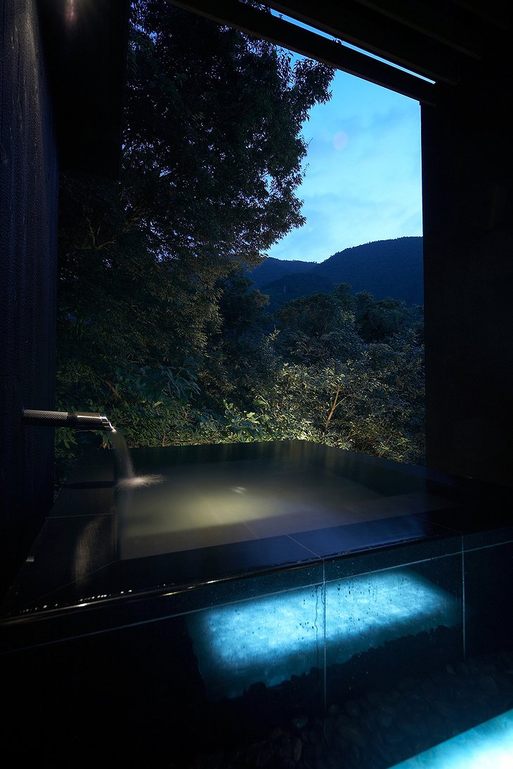 Hakone Ginyu plunge pool at night in the nature