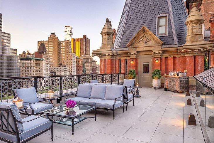 The Beekman Hotel penthouse rooftop terrace overlooking New York City