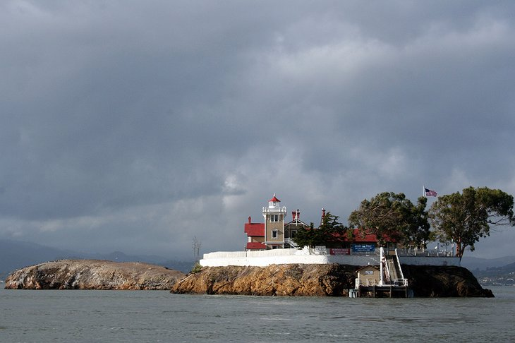 East Brother Light Station on an island