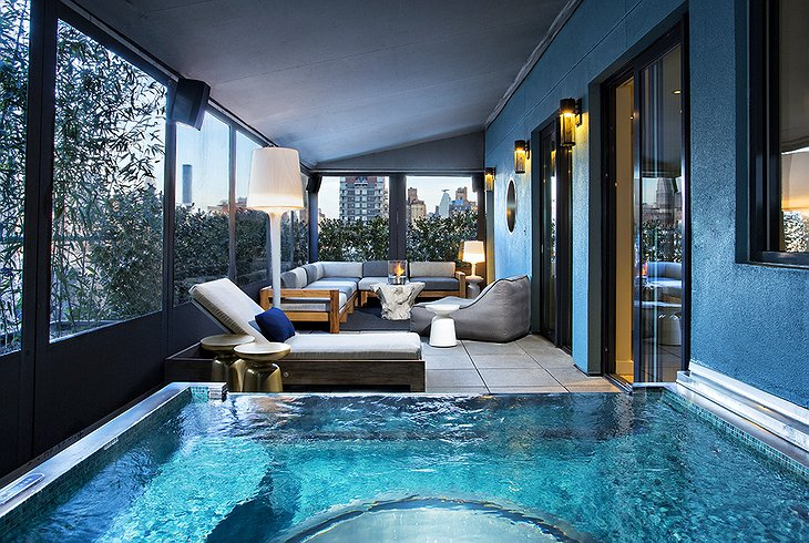 Dream Downtown presidential suite terrace with hot tub