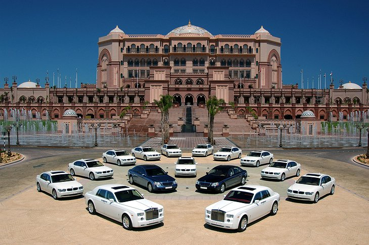 Emirates Palace luxury car fleet - Mercedes S Class, BMW 7, Maybach, Rolls Royce.