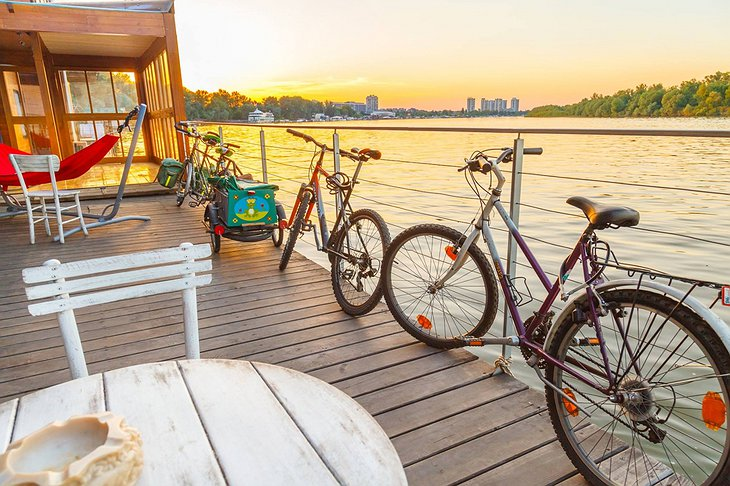 ArkaBarka Floating Hostel bikes and river panorama