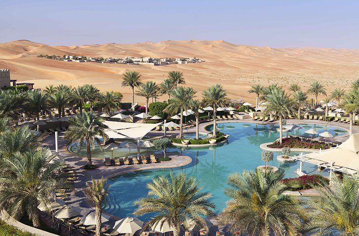 Qasr Al Sarab Desert Resort and swimming pools in the Liwa Desert