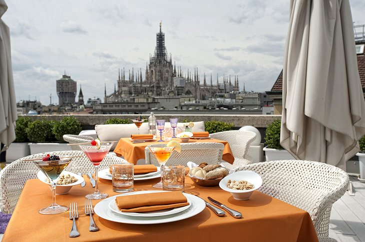 Boscolo Milano rooftop dining with cathedral views