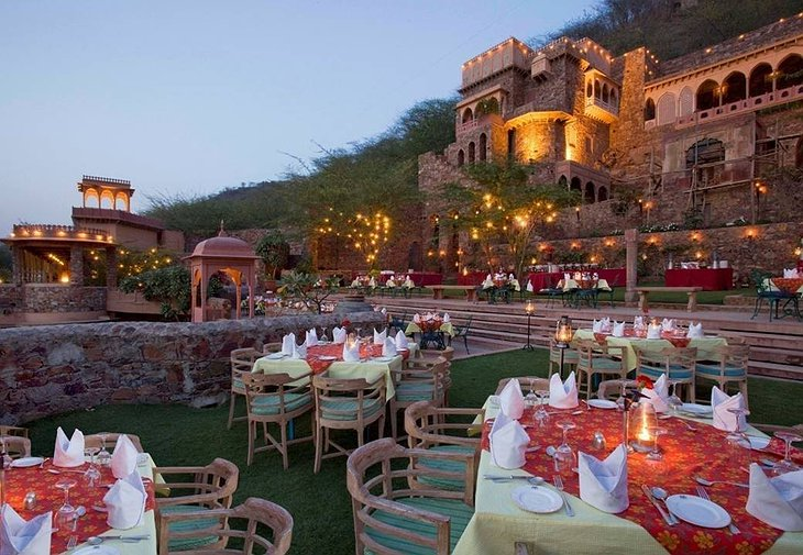 Neemrana Fort Palace dining on the terrace