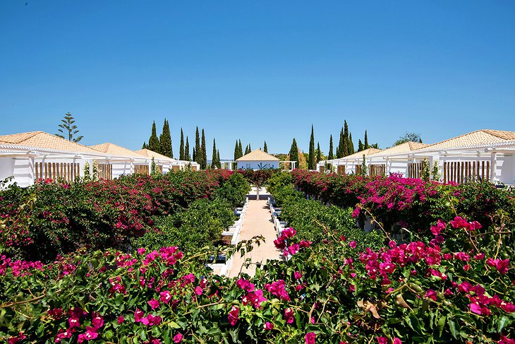 Vila Monte garden with flowers and suites