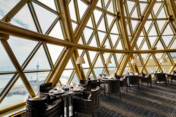 Grand Lisboa Macau top bar with panoramic views on the city