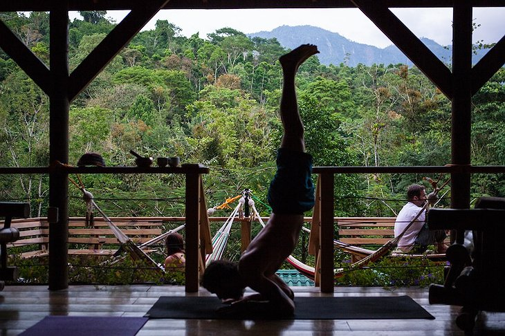 Yoga pose with jungle views in the background