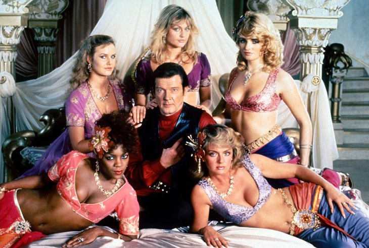Roger Moore and the Octopussy girls
