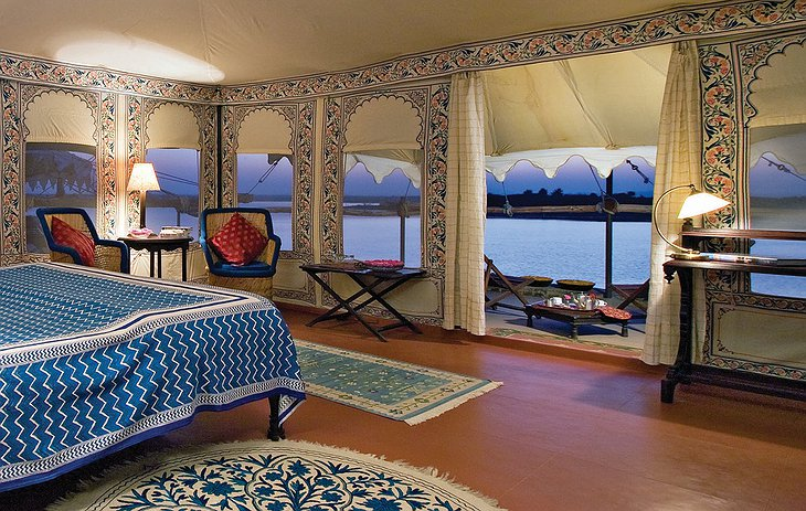 Chhatra Sagar tent interior with bed and private balcony