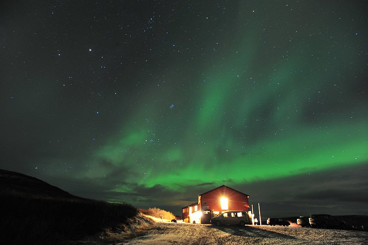 Hotel Glymur and northern lights