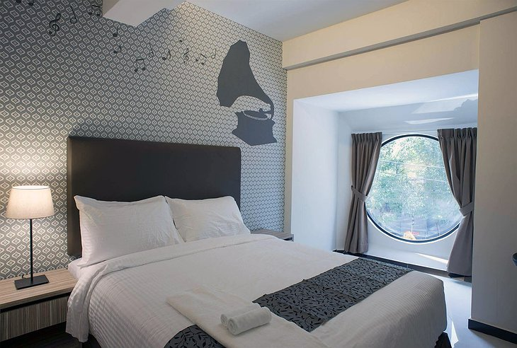 The Mesui Hotel Music Themed Room with Rounded Window