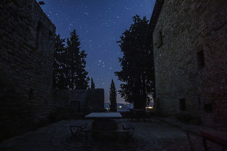Castello di Petroia night stars on the terrace