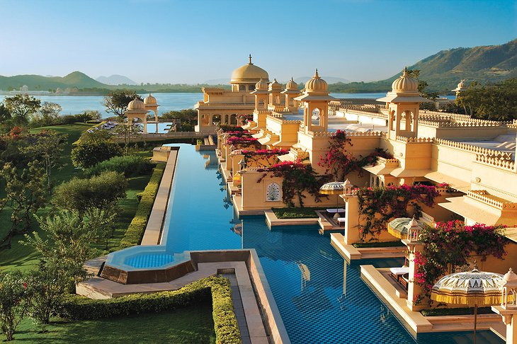 The Oberoi Udaivilas outside pools